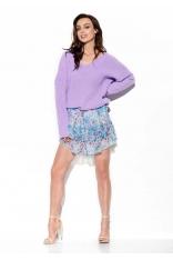 Zwiewna Wzorzysta Mini Spódnica z Jedwabiem - Druk 14