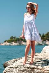 Biała Zwiewna Sukienka na Ramiączkach z Falbankami
