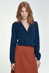 Granatowa Koszula Elegancka z Dekoltem V