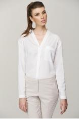 Biała, Minimalistyczna Bluzka z Dekoltem V - Promocja!