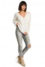 Ecru Klasyczny Sweter z Dekoltem V ze Złotą Nitką