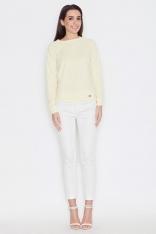 Żółta Minimalistyczna Bluzka z Dyskretną Fakturą z Długim Rękawem