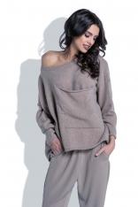 Luźny Mocca Sweter z Dużą Kieszenią