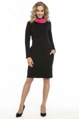 Czarno Różowa Wygodna Sportowa Sukienka z Kominem