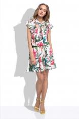 Białą Letnia Sukienka z Tropikalnym Wzorem z Ozdobnymi Falbankami