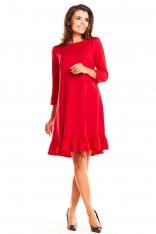 Czerwona Wizytowa Sukienka z Falbaną z Rękawami ¾