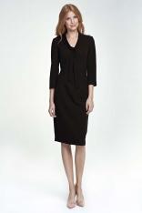 Czarna Sukienka Elegancka z Wiązaniem przy Dekolcie