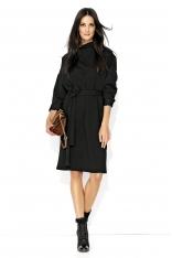 Czarna Kimonowa Midi Sukienka z Golfem