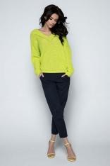 Limonkowy Sweter Krótki Oversizowy z Dekoltem V