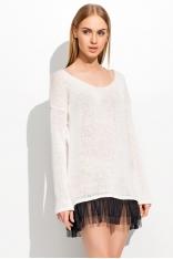 Ecru Romantyczny Sweter Wykończony Tiulem