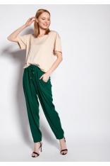Casualowe Spodnie z Gumką i Troczkami w Pasie - Zielone