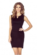 Czarna Ołówkowa Mini Sukienka z Klamerką