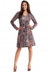 Sukienka Trapezowa z Dekoltem V z Kolorową Grafiką Boho