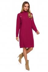 Sukienka z Golfem i Guzikami - Różowa
