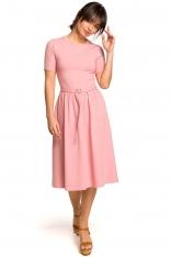 Różowa Lekko Rozkloszowana Sukienka z Krótkim Rękawem