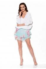 Zwiewna Wzorzysta Mini Spódnica z Jedwabiem - Druk 18