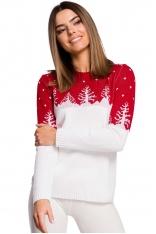 Sweter z Motywem Choinek -- Czerwony