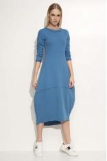 Jeansowa Sukienka Asymetryczna Bombka Midi z Długim Rękawem