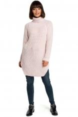 Różowy Wygodny Długi Sweter z Golfem