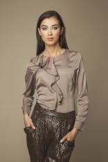 Brązowa Elegancka Koszula z Falbanką