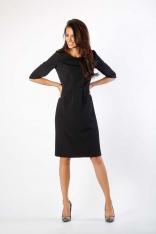 Czarna Klasyczna Sukienka z Zakładkami