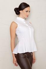 Biała Kobieca Koszula bez Rękawów z Baskinką