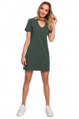 Wygodna Sukienka w Kształcie Litery A - Zielona