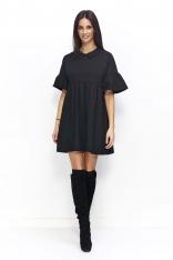 Czarna Sukienka Trapezowa z Falbankami na Rękawach