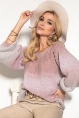 Kolorowy Sweter z Bufiastym Rękawem - Pudrowy