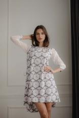 Rozkloszowana Sukienka z Siateczkowym Rękawem - Wzór 113