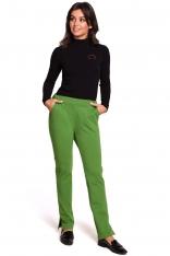 Limonkowe Dzianinowe Spodnie na Gumie z Rozciętymi Nogawkami