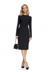 Czarna Ołówkowa Sukienka Midi z Mini Stójką