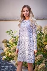 Szara Wizytowa Trapezowa Sukienka z Koronki