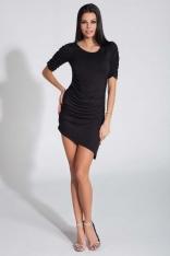 Czarna Sukienka Asymetryczna z Ozdobnym Drapowaniem