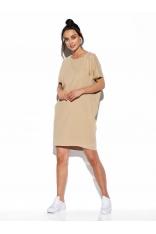 Krótka Bawełniana Sukienka o Prostym Kroju - Beżowa