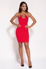 Czerwona Sukienka na Cienkich Ramiączkach z Biżuteryjnym Akcentem