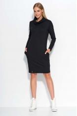 Czarna Sukienka Dresowa z Wywijanym Golfem