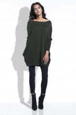 Oliwkowy Długi Sweter Bombka z Kieszeniami