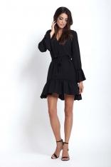 Czarna Kobieca Zwiewna sukienka z Falbankami