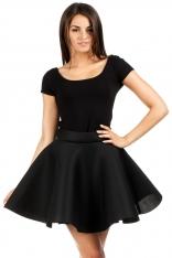 Czarna Rozkloszowana Mini Spódnica Szyta z Koła