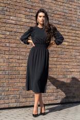 Czarna Midi Sukienka z Bufiastym Rękawem