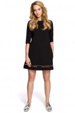 Czarna Klasyczna Sukienka Trapezowa z Siatkowym Panelem
