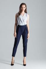 Granatowe Eleganckie Spodnie o Lekko Podwyższonym Stanie