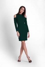 Zielona Ołówkowa Sukienka na Stójce z Wycięciem w Rękawie
