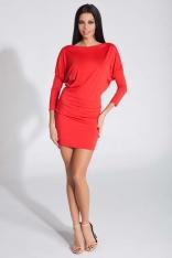 Czerwona Seksowna Sukienka z Kimonowym Długim Rękawem