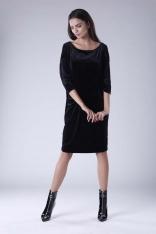 Czarna Luźna Sukienka z Dekoltem w Łódkę z Weluru