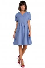 Niebieska Rozkloszowana Sukienka Mini Odcinana pod Biustem