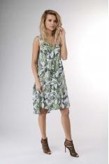 Zielona Zwiewna Letnia Sukienka z Falbankami