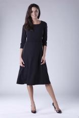 Czarna Rozkloszowana Sukienka Wizytowa z Zaznaczoną Talią