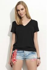 """Czarny T-shirt z Dekoltem """"V"""" z Krótkim Rękawem"""